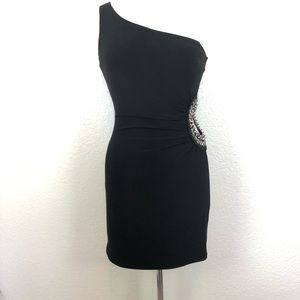 Papaya Black One Shoulder Cutout Dress Medium